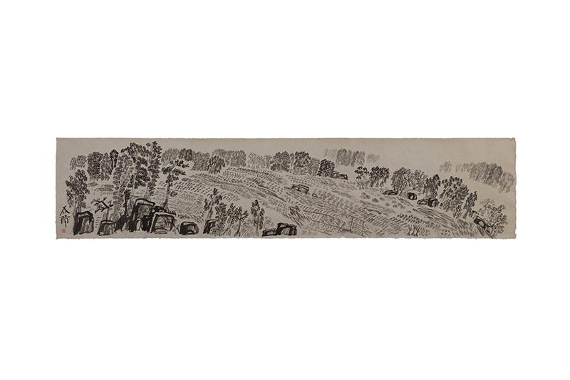 徐冰  | 文字寫生 墨、紙, 2013, 80 × 367 公分 的圖說