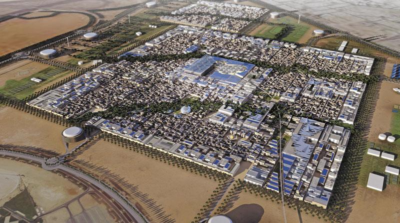 阿布達比酋長國的瑪斯達市建設計畫,以圍有正方形城牆之傳統阿拉伯城市為藍圖。    Foster+Partners, Transsolar 的圖說