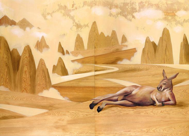 曾聖惠  | 這座島上-平行輿圖志1 平面複合媒材, 2015 162x224x5cm 藝術家自藏 的圖說