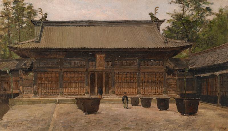 淺井忠    湯島聖堂大成殿 油彩、畫布 , 1896 86.8x50.5 cm 的圖說