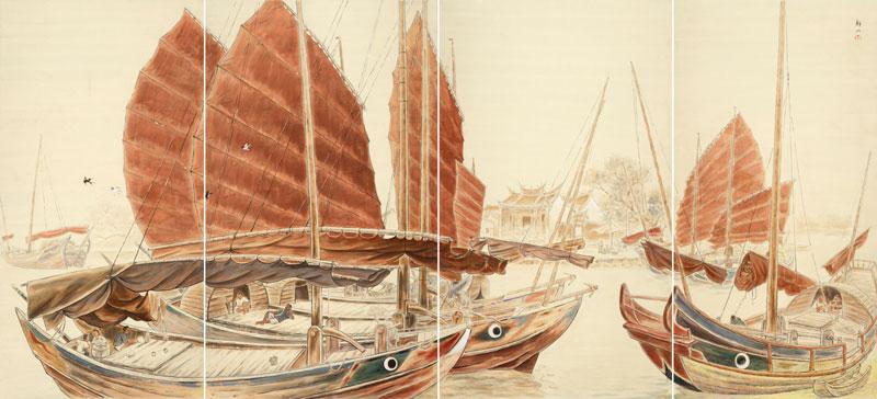 黃靜山     南國之船  膠彩、紙 , 1941  150 x 328.5 cm 的圖說