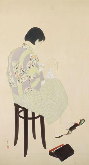 林柏壽     刺繡  膠彩、紙 , 1941  171 x 93 cm 的圖說