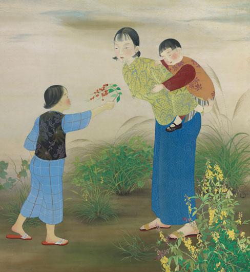 陳進     野邊  膠彩、絹 , 1934  186 x 171 cm 的圖說