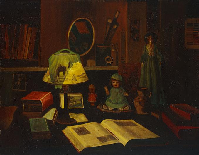 王坤南    夜之書齋 油彩、畫布, 1934 90 x 115 cm 的圖說