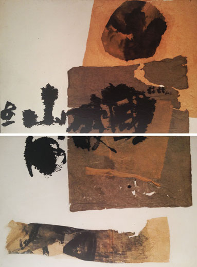 CHUANG CHE    Homage to Du Fu – A Kingdom Shattered, Rivers and Mountains Survive Oil and collage on canvas, 1966 (76 x 112 cm) x 2