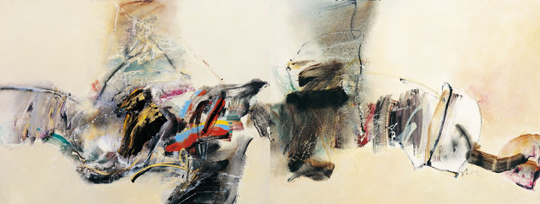 CHUANG CHE    Coexistence of Different Rhythms Acrylic and oil on canvas, 1988 100 x 264 cm (diptych)
