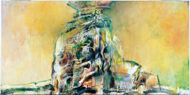 CHUANG CHE    Stand Alone on the World Acrylic on canvas, 2008 171.5 x 346 cm (diptych)