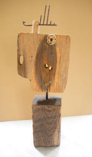 CHUANG CHE    Standing Statue I Wood, nails, 1991-1992 82×27×18 cm