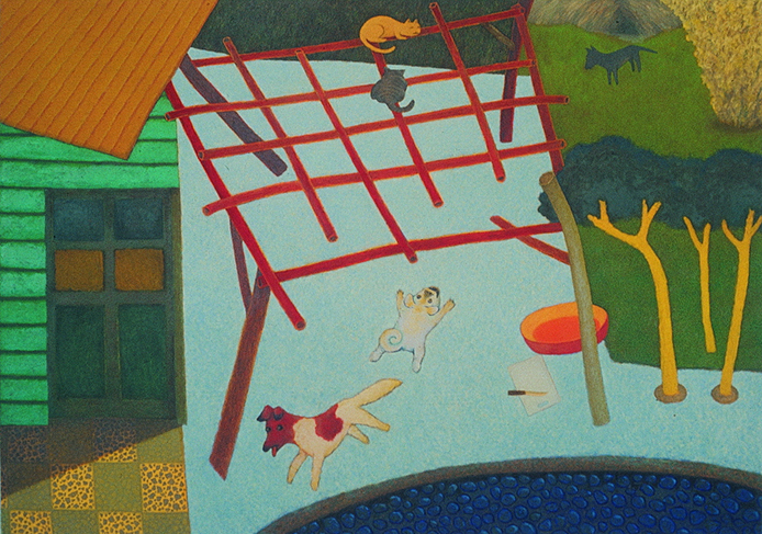 Su Wong-shen    Chasing Oil on canvas, 1988 170 x 240 cm  Private collection