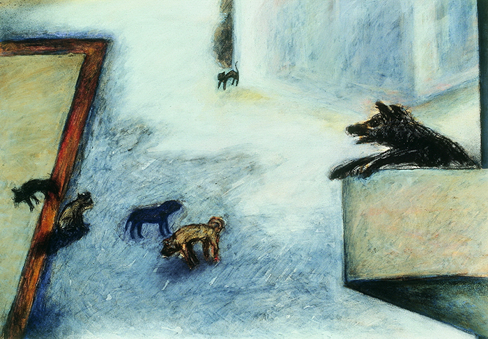 Su Wong-shen    Street Corner Carbon, colored ink, acrylic, watercolor on paper, 1990 50 x 70 cm  Collection of Ping-yu Tsai