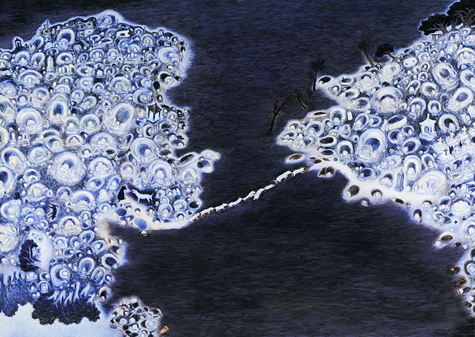 Su Wong-shen    Twin Hilltops Oil on canvas, 2002 170 x 240 cm  Collection of Lin & Lin Gallery