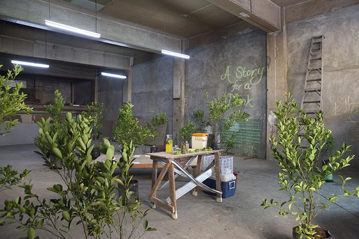 黃博志    五百棵檸檬樹:馬尼拉研究 裝置、複合媒材, 2014 尺寸可變 攝影:黃千瑜, Project Glocal:TRANSI(EN)T MANILA Teoff Center, Escolta St. Binondo Manila, Philippine