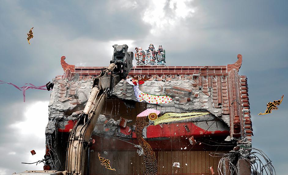 邱國峻  | 神遊之境之三 攝影影像、絹布、刺繡, 2012 75x115 cm  藝術家自藏 的圖說