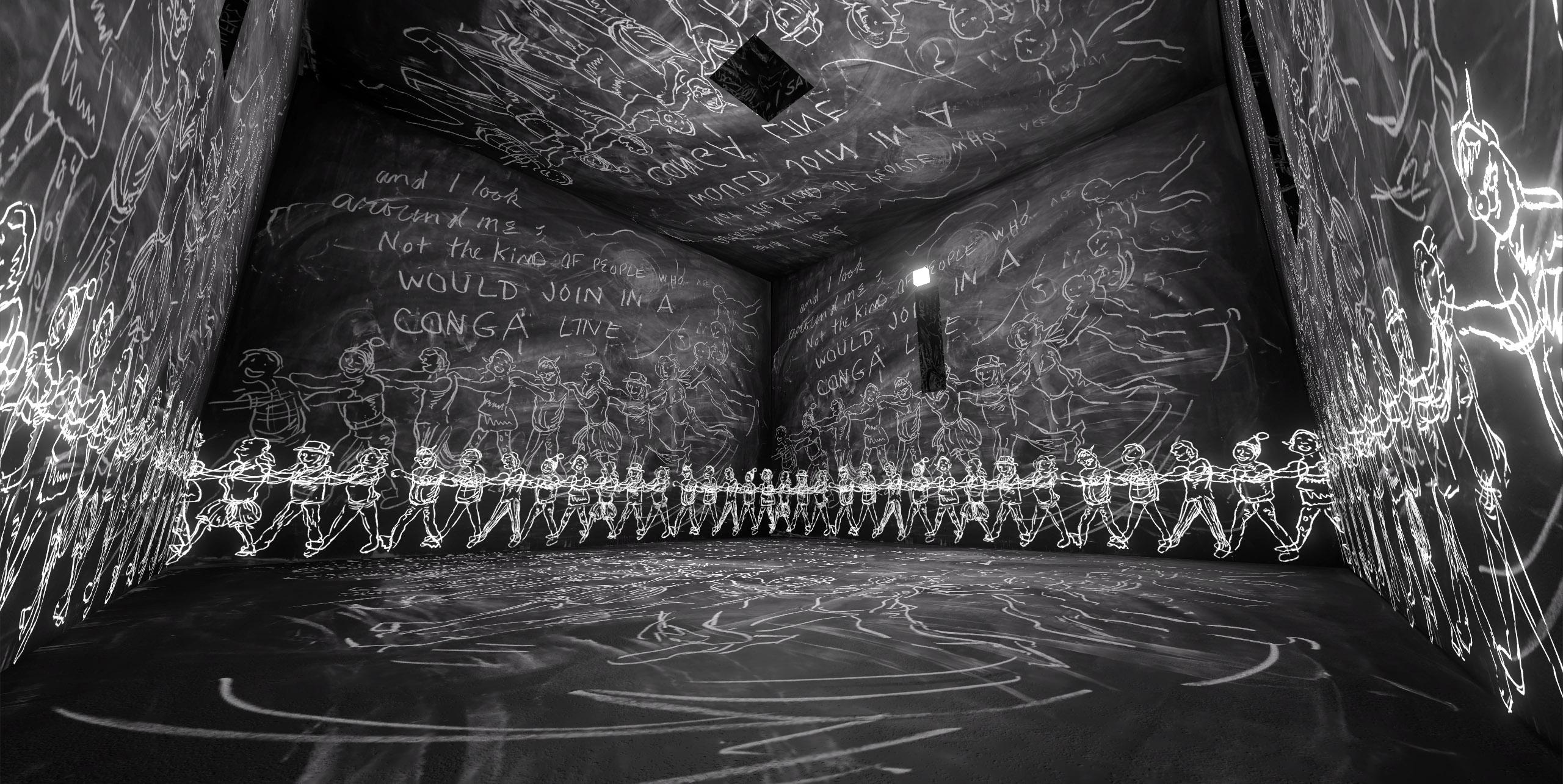 蘿瑞‧安德森+黃心健  | 沙中房間 虛擬實境頭戴裝置、手持控制器、電腦、虛擬實境影像, 2016 15分鐘