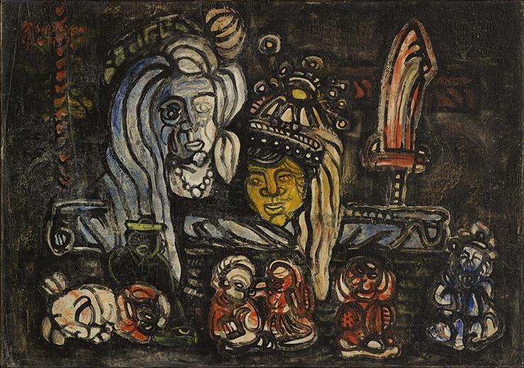 夏陽  | 泥娃攤 油彩、畫布, 1957 57 x 81 cm 的圖說