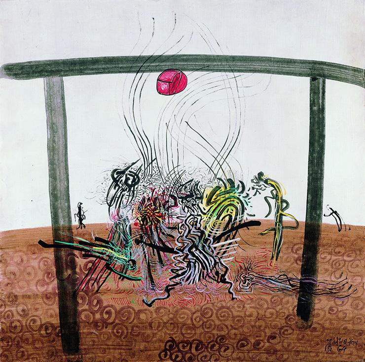 夏陽  | 足球比賽 不透明水彩、壓克力顏料、油彩、畫布, 1964 72.5×72.5 cm  臺北市立美術館藏 的圖說