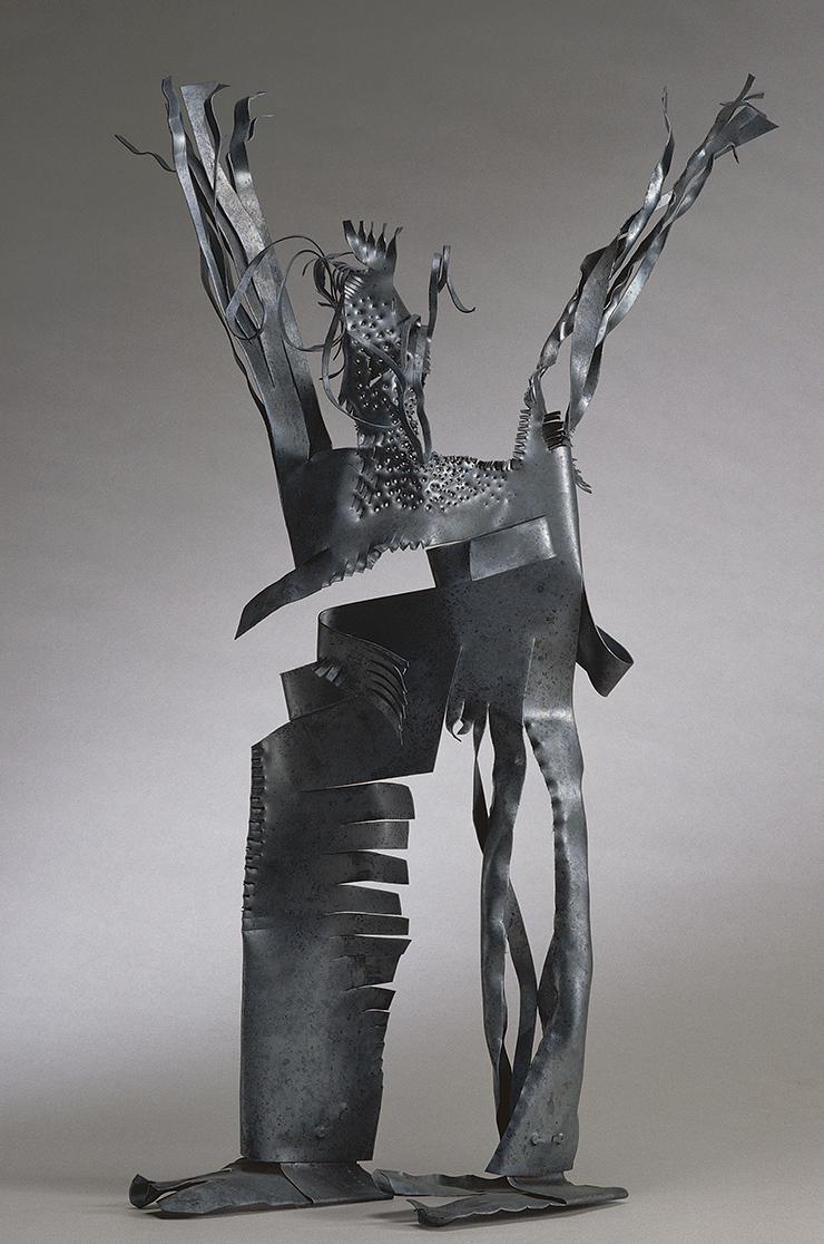 夏陽  | 舉雙手的人 銅, 1999 60 x 27 x 13 cm 的圖說