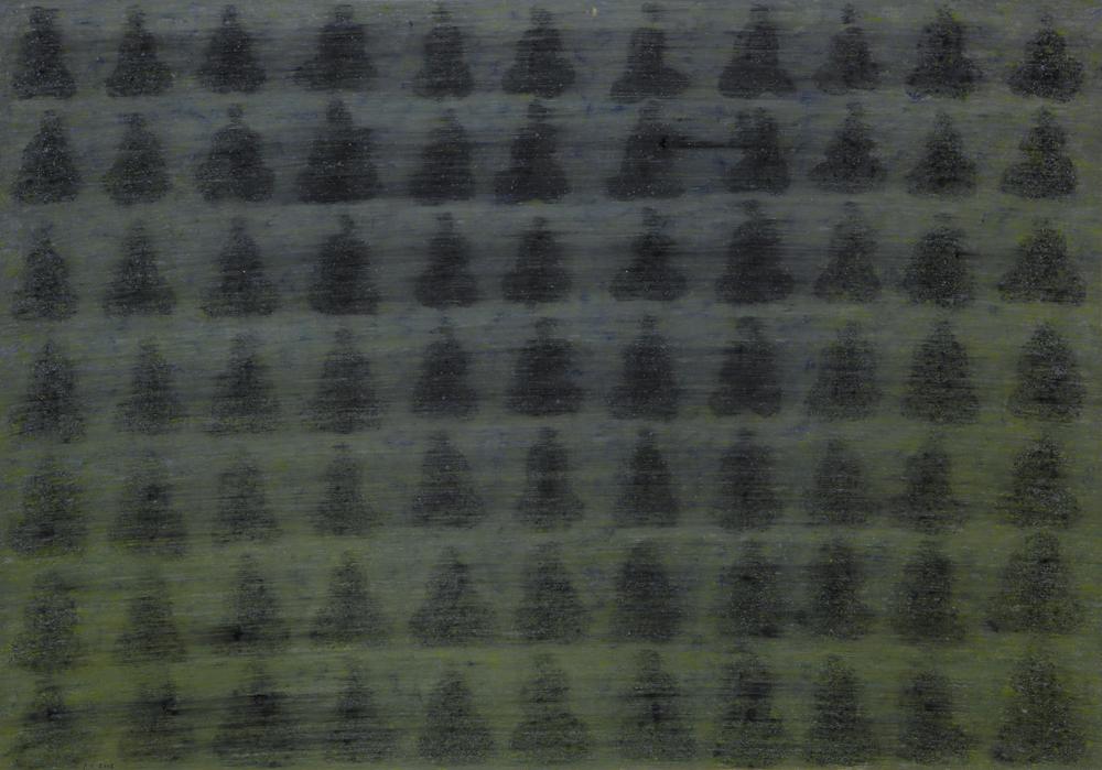 江賢二  | 百年廟 99-35 油彩/畫紙, 1999 70 x 100 cm  藝術家自藏 的圖說
