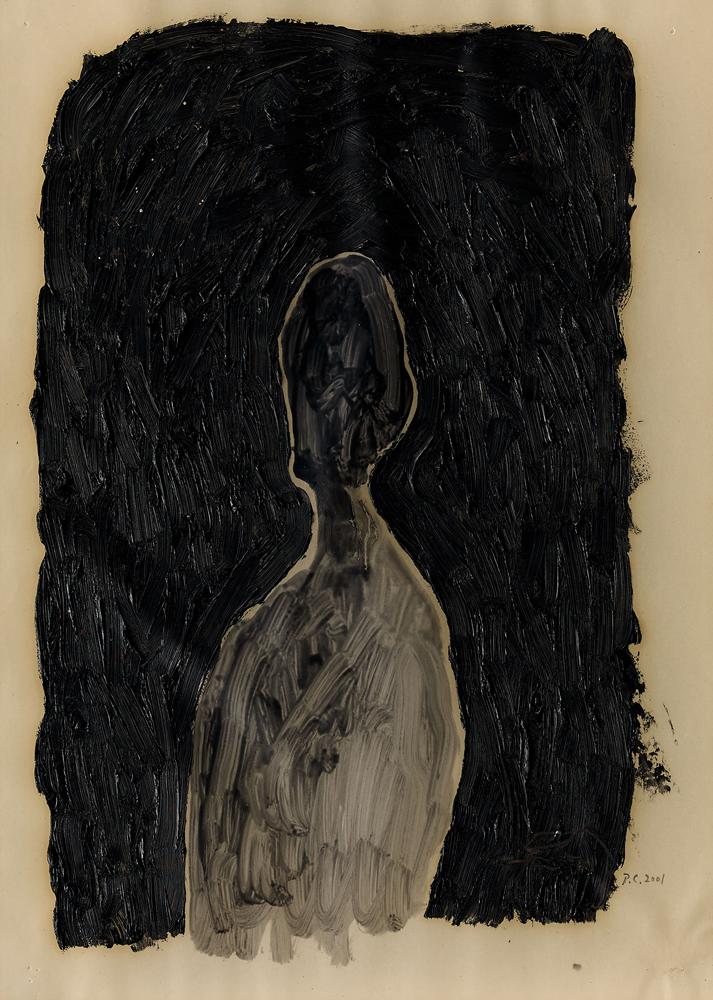 江賢二  | 自畫像 油彩/畫紙, 2001 35 x 28 cm 的圖說
