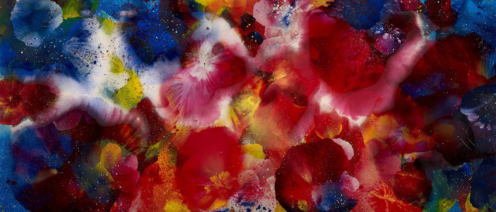 江賢二  | 比西里岸之夢 09-07 油彩/絲綢, 2009 170 x 390 cm 私人收藏 的圖說
