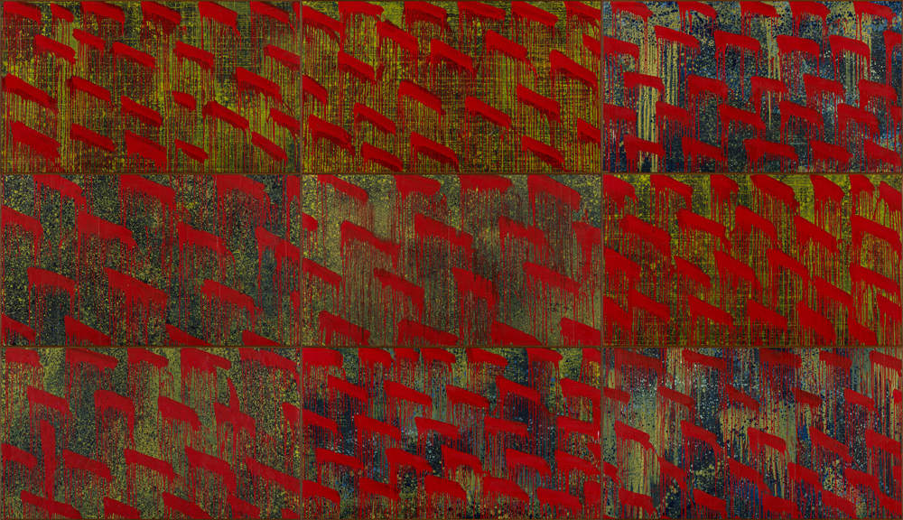 江賢二  | 金樽/秋 油彩、複合媒材, 2019 360 x 630 cm  藝術家自藏 的圖說