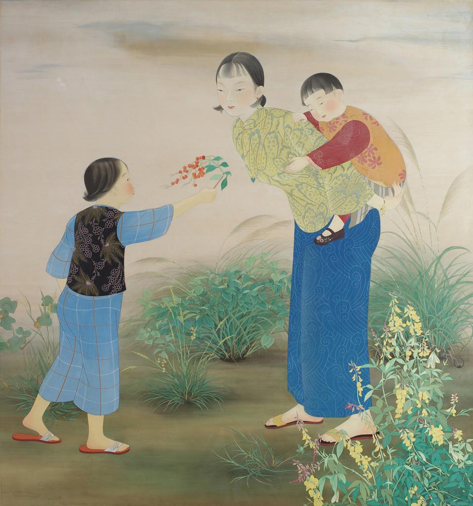 陳進    野邊 膠彩、絹, 1934 186×171公分 臺北市立美術館典藏, 第8回臺展東洋畫部:審查員