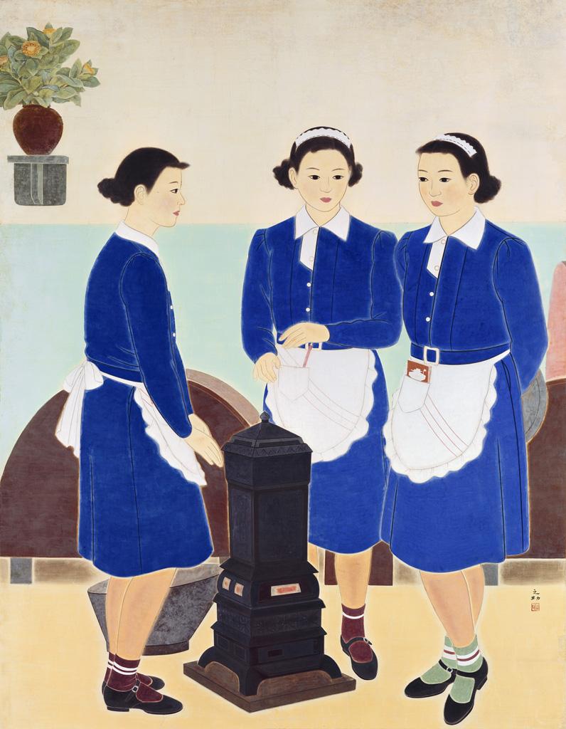 林之助    小閒 膠彩、紙, 1939 195.5×152公分 臺北市立美術館典藏