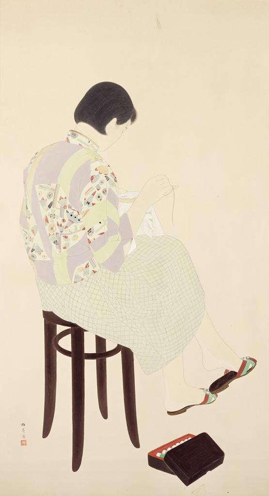 林柏壽    刺繡 膠彩、紙, 1941 171×93公分 臺北市立美術館典藏, 第4回府展東洋畫部:特選