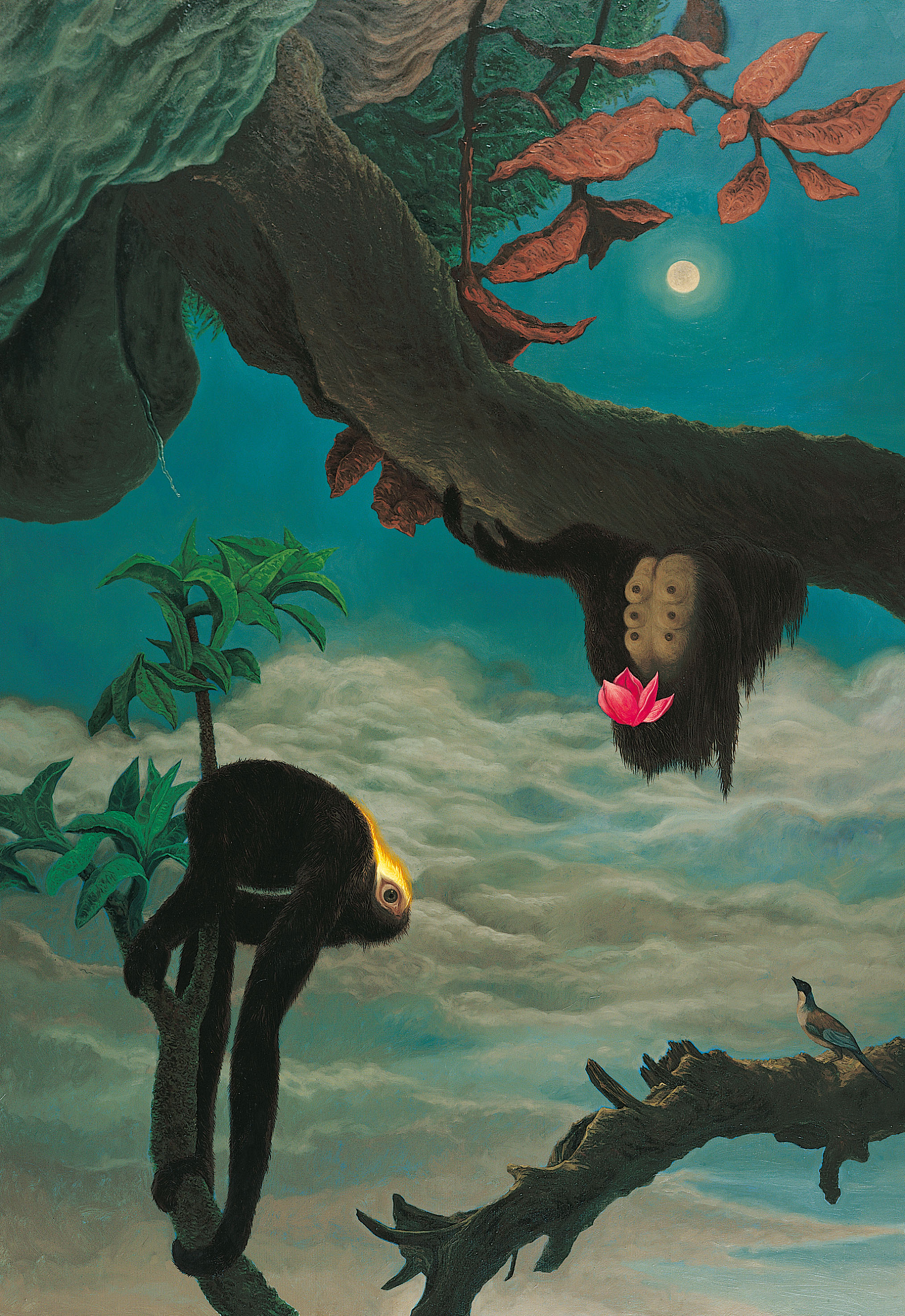 LIN Ju, Oil on Canvas  | Shuangxi Illustrations (1): Apes Playing under the Moon   245x164 cm, 2007 的圖說