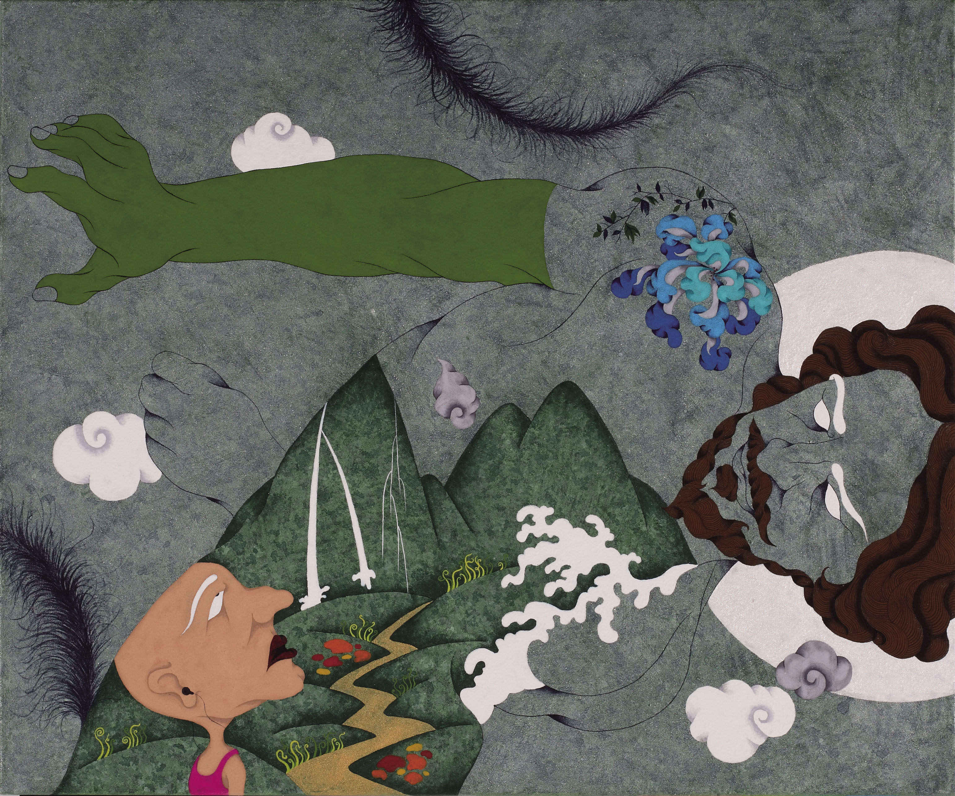 HUA Chien -chiang, Gouache on Canvas  | Think like a Philosopher: High Song   60.5x72.5 cm, 2011 的圖說