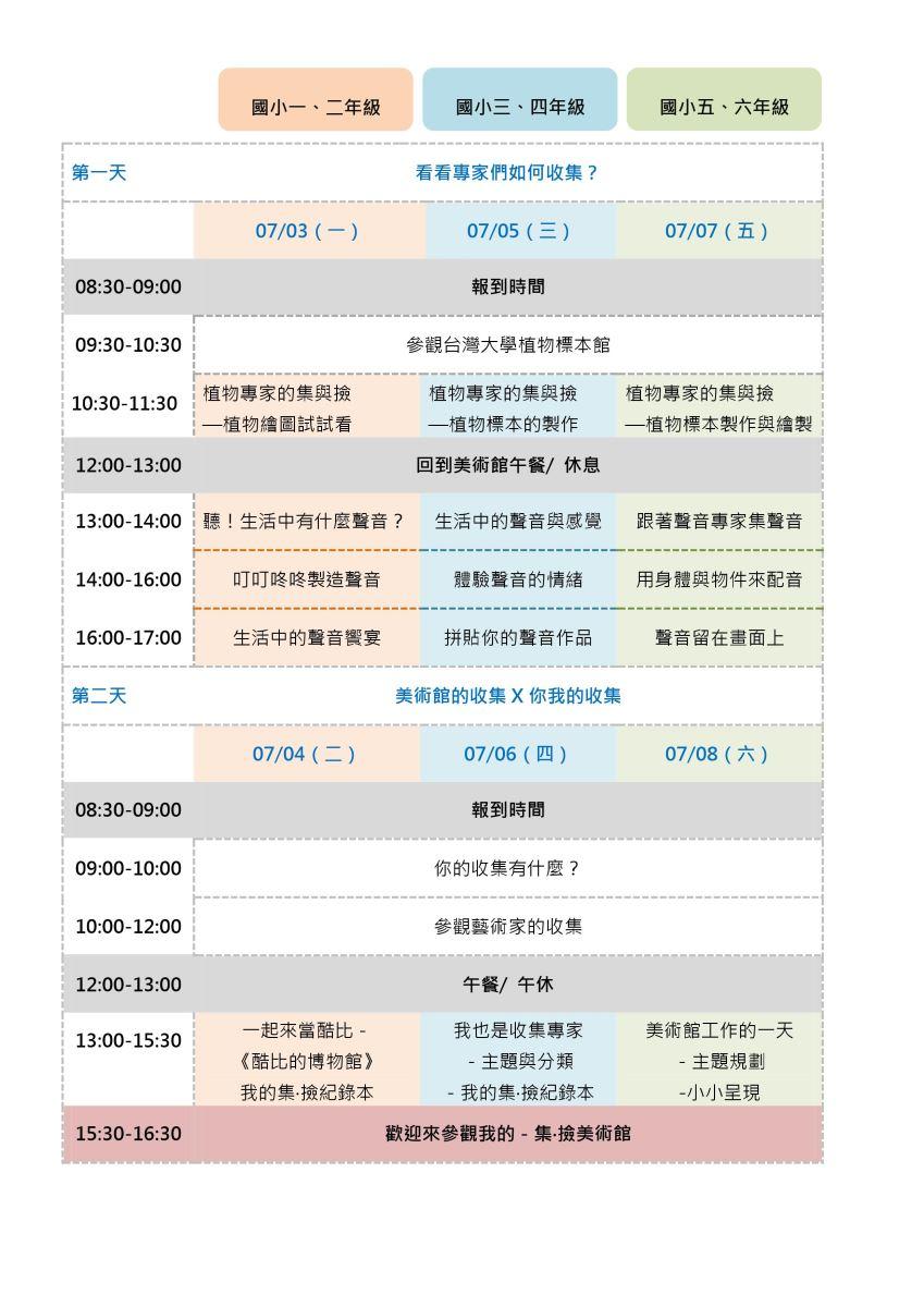 2017美術營活動表